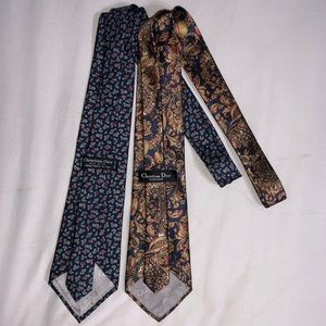 Two Vintage Christian Dior Silk Ties